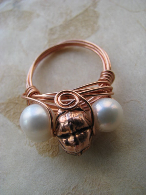 Freswater Pearl and Copper Ring Size 7, Wire Wrapped Ring
