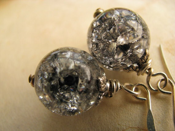 Black Ice Orbs and Silver Earrings