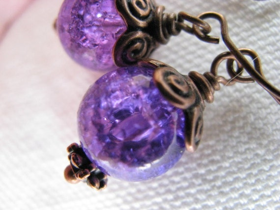 Crackle Glass Purple and Antique Copper Earrings