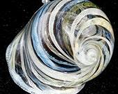 Latticino Swirl Handblown and Sculpted Borosilicate Glass Seashell by Artist Mike Warren 2009
