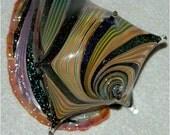Dichroic Conch Seashell Handblown and Sculpted Borosilicate Glass by Artist Mike Warren 2009