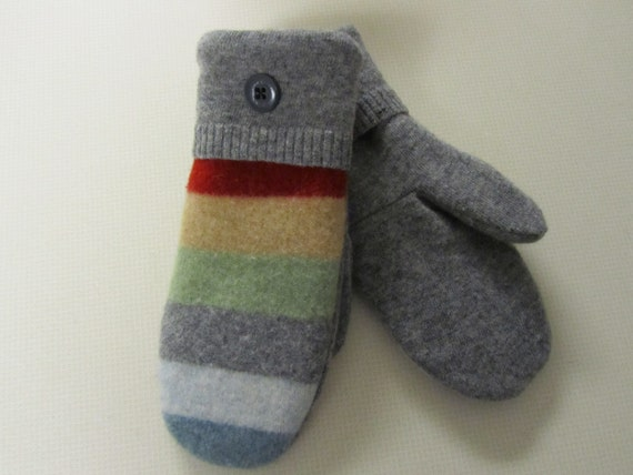 Wool Mittens (made from recycled wool sweaters)  - Womens  FREE SHIPPING