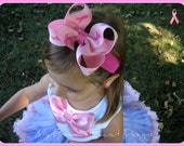 Breast Cancer Awareness Pink Ribbon Bow Band
