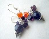 Purple, Orange, Amethyst, Glass Earrings on Sterling Silver Earwires