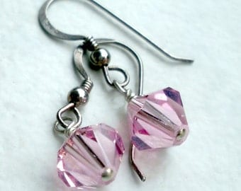 Light Rose Pink Austrian Crystal on Sterling Silver Earwires