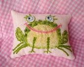 Cute Frog Original Wool Embroidered Pillow Made to Order Only