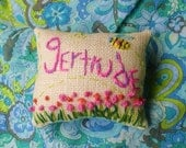 Freehand Embroidered Name Mini Pillow Made To Order