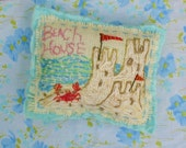 The Perfect Beach House Original Hand Embroidered Sandcastle Pillow Made To Order