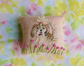 Freehand Embroidered Mini Pillow with Your Dog