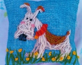 Freehand Embroidered Mini Pillow on Burlap with Your Dog from PHOTO YelliKelli