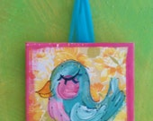 Easter Basket Filler Sweety Bluebird Mini Painting on Vintage Fabric