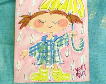 Rain Rain Lets Just Play Kids Rooms Painting Made to Order Custom Colors YelliKelli