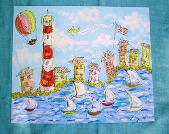 LARGE Dreamy Original Land/ Sea Scape Painting Made To Order From Photo YelliKelli