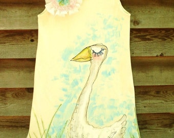 Goose Ruffles Hand Painted Dress for Girls Made To Order