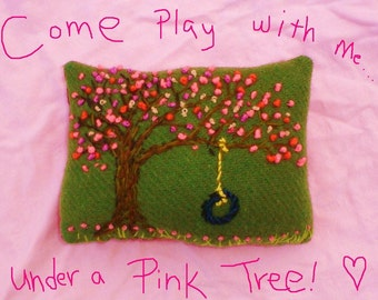 Pink Tree Freehand Crewel Embroidered Wool Pillow Custom Made Only