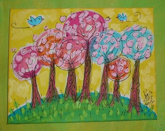 BoHo Pop Trees Original Painting Made To Order