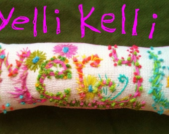 Thirteen Letters Freehand Embroidered Bohemian Letters Name Pillow Custom Made