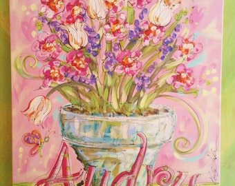 Beautiful Flower Vase Personalized Nursery Painting LARGE Made To Order