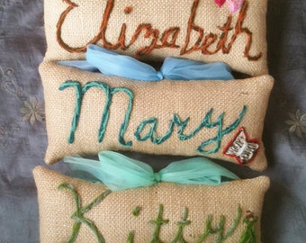 Freehand Embroidered Crewel Any Name MINI Pillow Made To Order YelliKelli