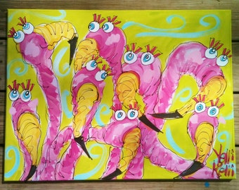 The Pretty Girls Flamingo Original Painting on Canvas Large Size