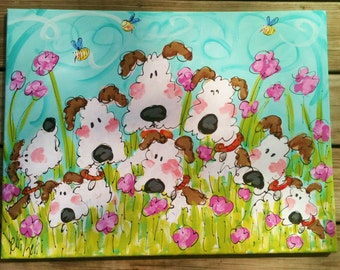 Dogs Dogs Dogs Original Painting Made To Order Large Size