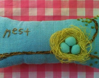 Nest Hand Embroidered Nursery Pillow Made to Order