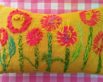 Mod Posie Garden Freehand Embroidered Burlap Pillow Made To Order Any Colors