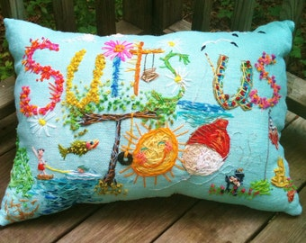 One Of A Kind OVERSIZED Freehand Bohemian Embroidered ANY Phrase Pillow Made To Order