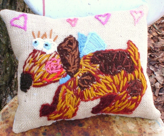 Hey Doggy,   Original Embroidery Wool Pillow Made To Order Any Breed