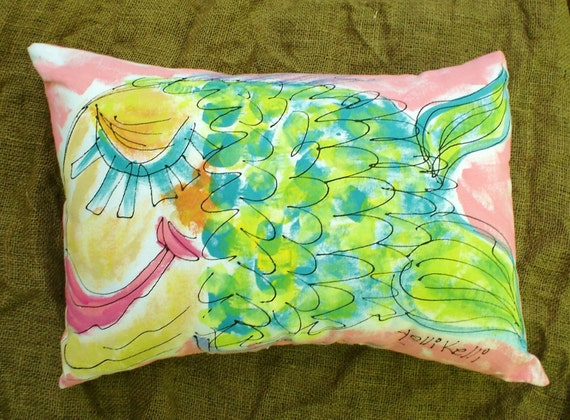 Sleepy Fish HandPainted Pillow