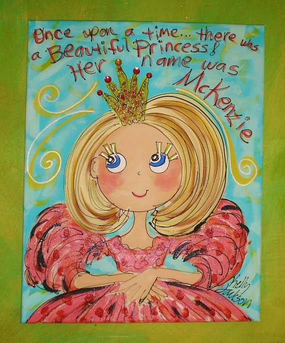 There Once Was A Princess MEDIUM  size canvas Personalized Princess Painting 16x20