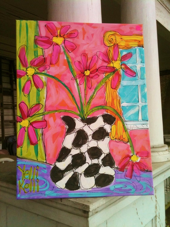 Modern Flower Vase Painting Made To Order Any Colors