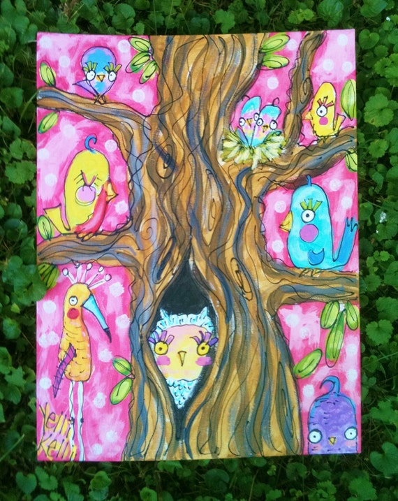SALE Birdies In The Trees Original Painting Ready To Ship