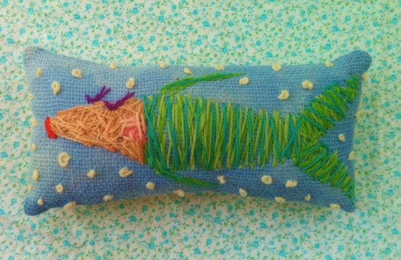 Prissy Fish Freehand Embroidered Mini Pillow