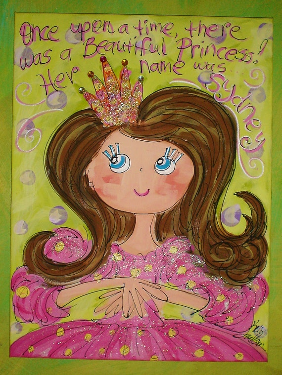 There Once Was A Princess BIG CANVAS Personalized Princess Painting