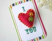 SALE Eco Felt Heart Pin I Love You I Heart You Hot Pink Yellow Green