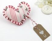 Fabric Heart Shaped Pin Brooch I Heart You Felt Cute Valentines Day Ready to Ship