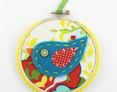 Felt Bird Embroidery Hoop Wall Art Modern 4 inch Hanging Cute Teal Red Yellow READY TO SHIP