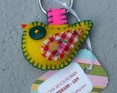 Tweet Bird Keychain Yellow Felt Vintage Checkered Fabric Keyring