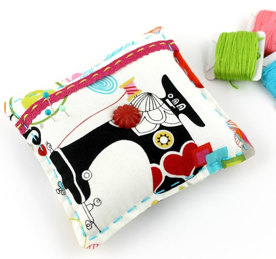 Modern Pin Cushion Sewing Room Print Fabric Sewing Lovers Gift