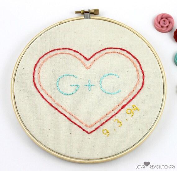Custom embroidery hoop art wedding gift anniversary
