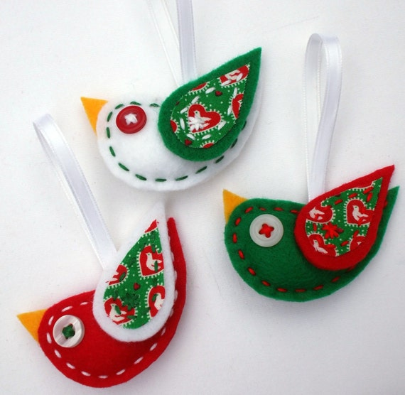 Christmas Tree Shaped Ornaments Are Handmade From 100 Recycled Eco Friendly Felt Hand: Eco Felt Tweet Bird Ornaments Set Of 3 Christmas Package