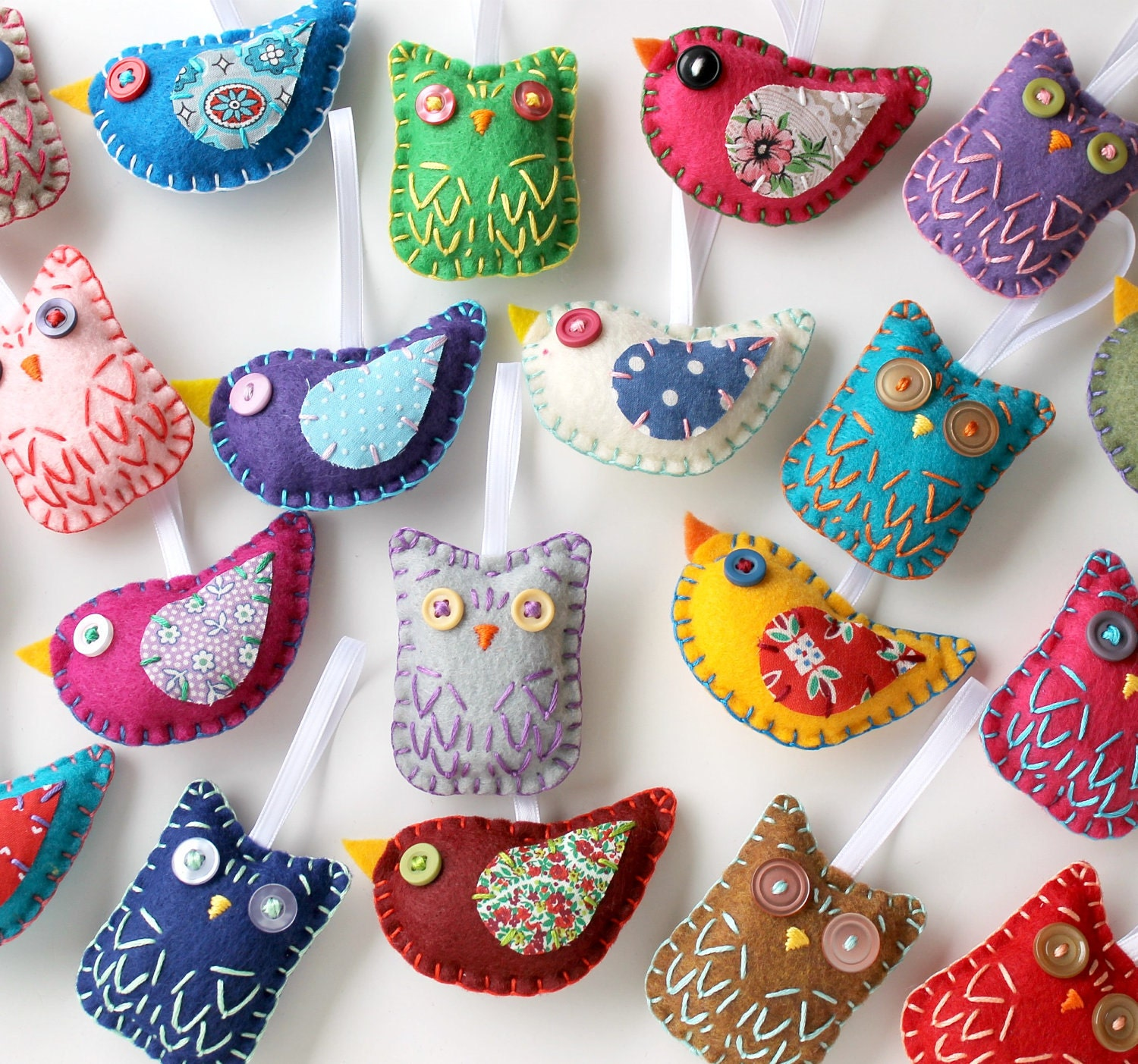 Christmas Tree Shaped Ornaments Are Handmade From 100 Recycled Eco Friendly Felt Hand: Owl And Bird Ornaments. Set Of 16. Wholesale Lot. Party
