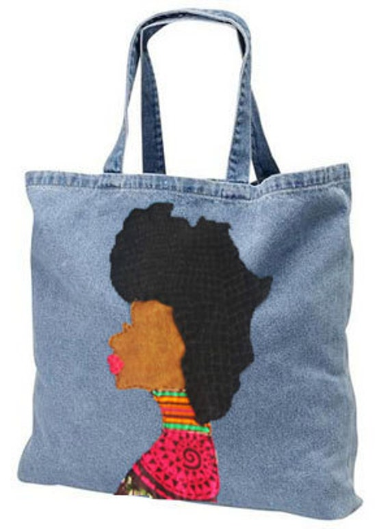 Denim Afro Woman Tote Bag