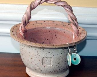 SALE Jewelry Holder with Braid Ceramic Handle