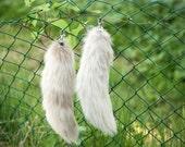 The Deviant - fluffy silver fur fox tail keychain