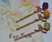 Decorative Floral Design Copper Leaf and Ruffled Rose Hair Clips, Set of Two