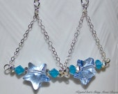 Starry Starry Night Blue Crystal Star Triangle Chain Sterling Silver Earrings