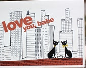 Love you, babe--City cats Valentine card