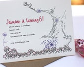 Fairy on Mushroom and butterfly Woodland-Birthday party Invitation (set of 10)